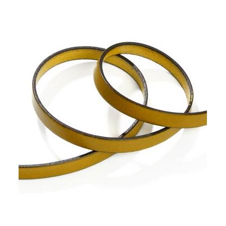 Ruban cuir10x2mm jauneSB 80cm