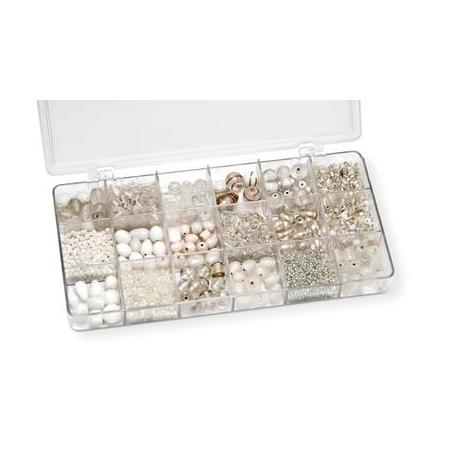 Boîte de perles en verre blanc