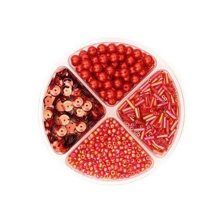 Assorties de perles/paillettes rouge