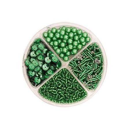 Assorties de perles/paillettes vert
