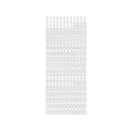 Sticker chiffres 1 cm argent