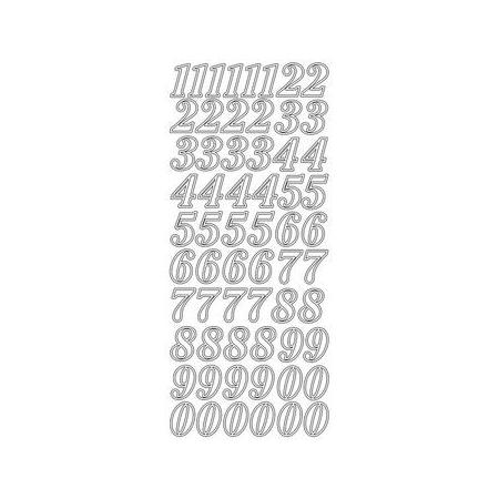Sticker chiffres 2 cm argent