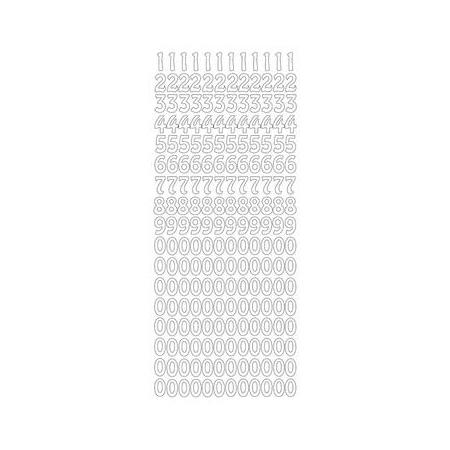 Sticker chiffres 0-9 argent