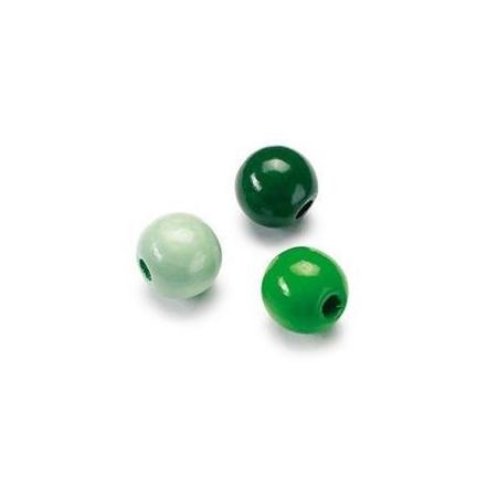 Mix de perles en bois 8mm vert SB80
