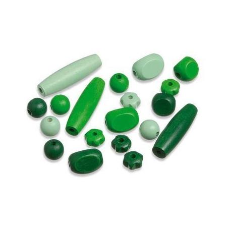 Perles en bois assortiment 3 vert SB20