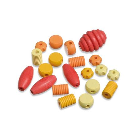Perles en bois assortiment jaune - rouge SB20