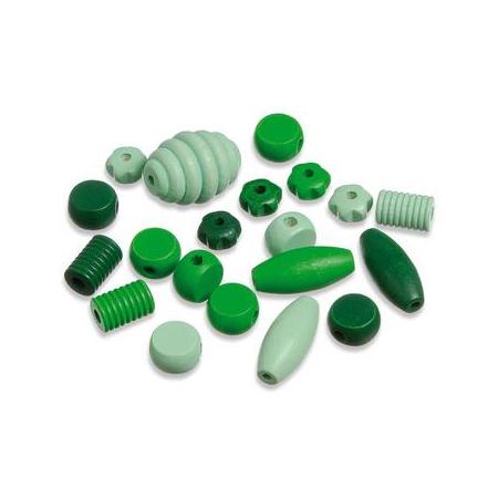 Perles en bois assortiment vert SB20