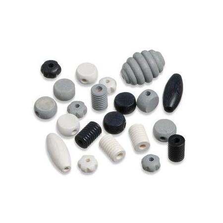 Perles en bois assortiment noir-blanc SB20