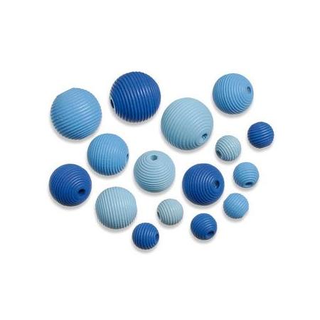 Perles en bois assortiment bleu SB20