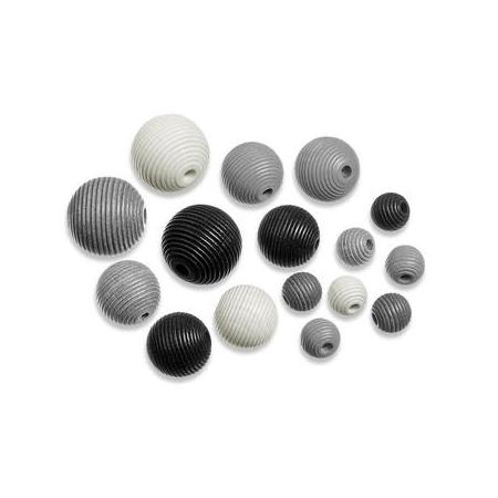 Perles en bois assortiment 4 noir-blanc SB20