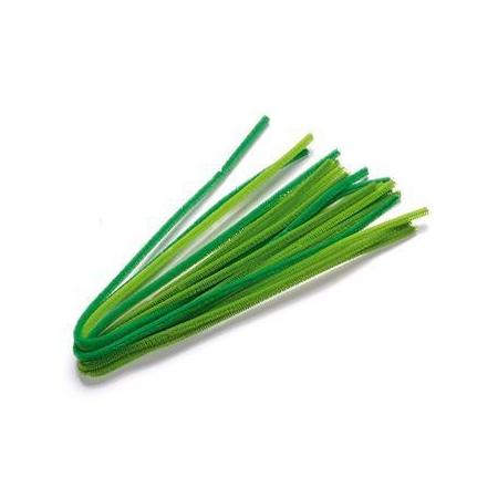 Chenille 6mm mélange vert prin 50cm X 6mm 10 pces