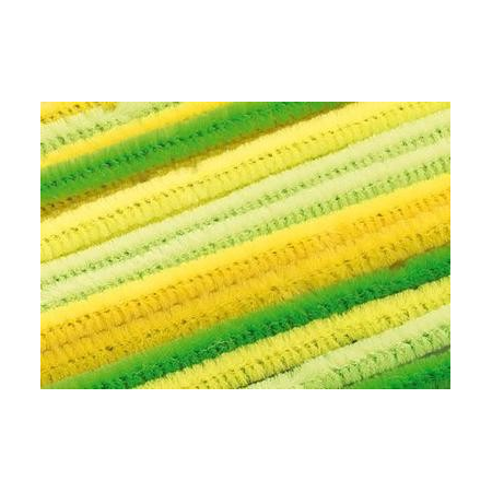 Chenilles, assortiment jaune 30cm x 6mm 25 pces