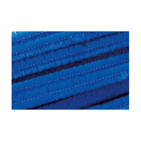 Chenille 50cm, bleu 8mm 10 pces