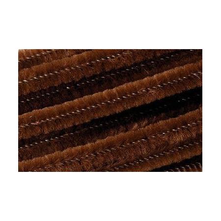 Chenille 50cm, brun 8mm 10 pces