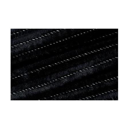 Chenille 50cm, noir 8mm 10 pces