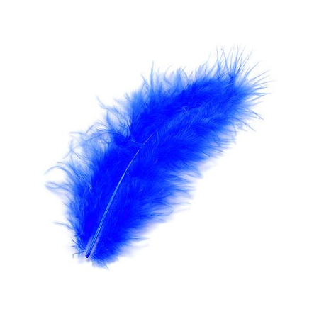 Plumes de marabout bleu 9cm 15 pces