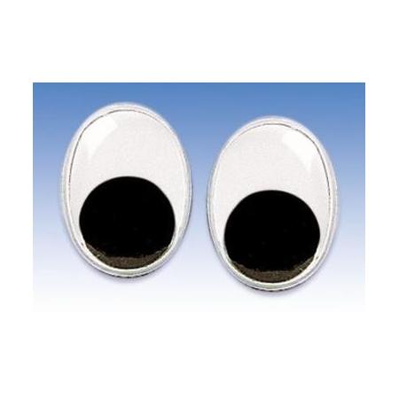 Yeux mobiles noir-blanc 9x7mm 100 pces