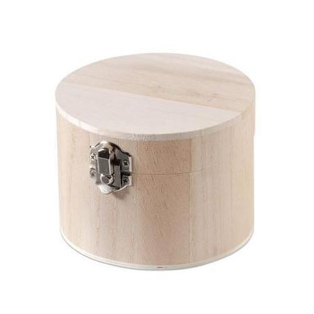 FSC Boîte en bois ronde 11x8cm