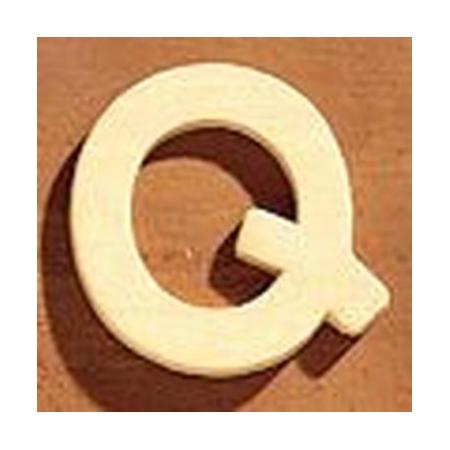Lettre en bois 'Q' 4cm
