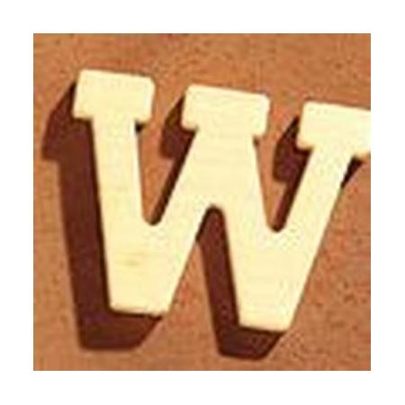 Lettre en bois 'W' 4cm