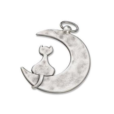 Pendentif lune avec chat 42x35