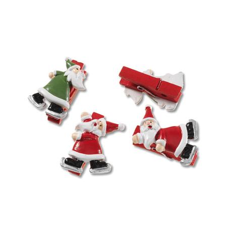 Pince Père Noël 4cm rouge-vert 8pcs