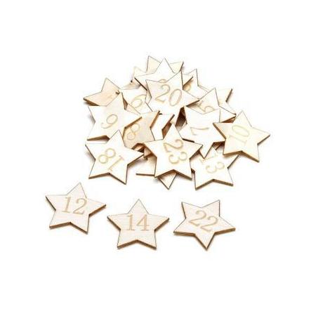 Déc.d'étoiles 3,5cm naturel 24 pces