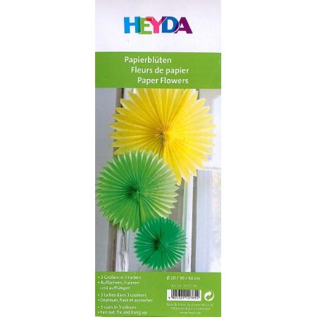 3 Boules fleurs en papier - vert foncé - vert clair - jaune