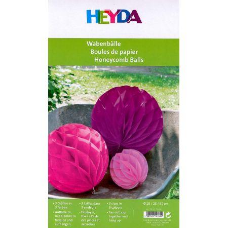 3 boules en papier - rose - rose foncé - fuschia