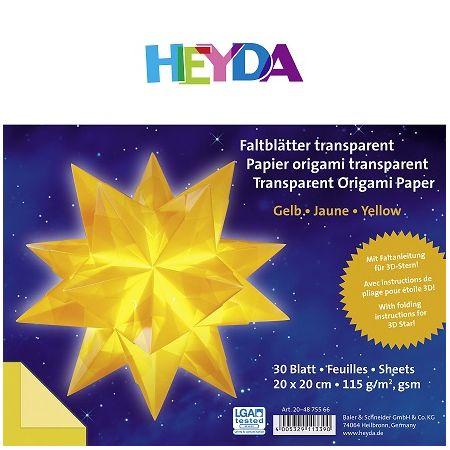 Papier origami transparent jaune 20cm x 20cm