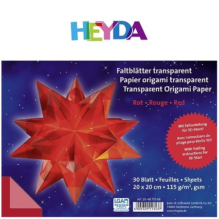 Papier origami transparent rouge 20cm x 20cm