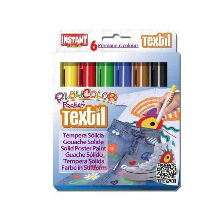 Gouaches solide Textile Pocket - Boîte de 6 couleurs