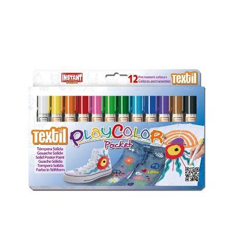 Gouaches solide Textile Pocket - Boîte de 12 couleurs