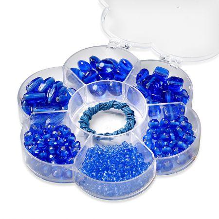 Assortiments de perles en verre bleu + cordon