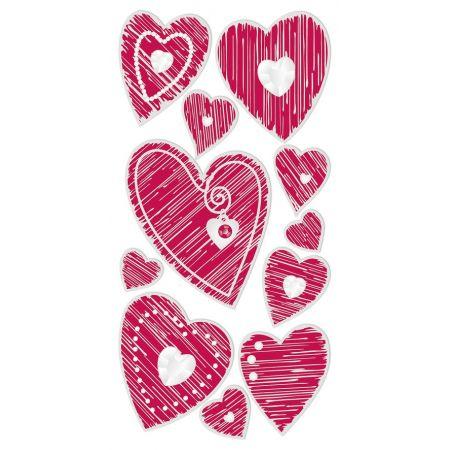 Sticker Coeurs rouge rayé