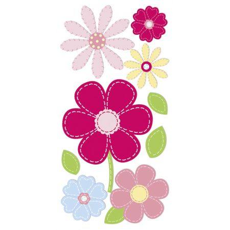 Sticker Fleurs rondes rose/rouge