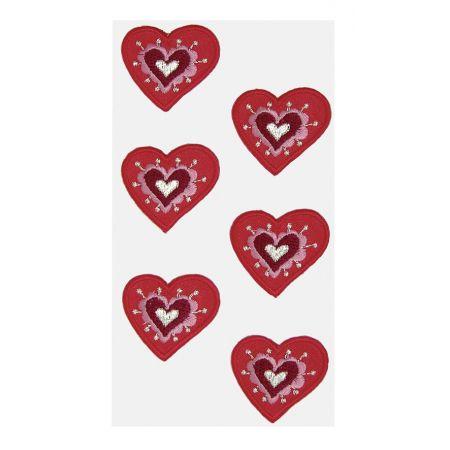 Sticker textile Coeurs rouges