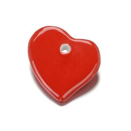 Perle en porcelaine Coeur 44x47mm rouge