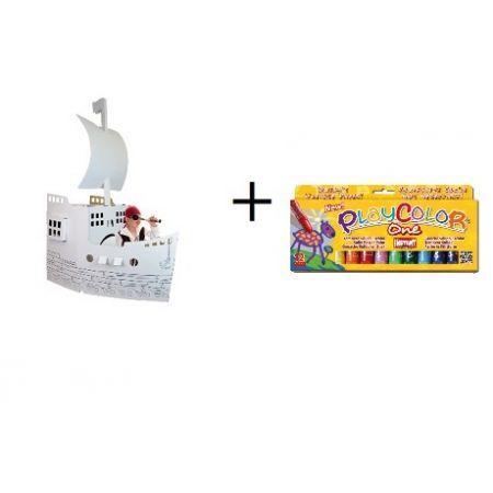Kit bateau pirates + Gouaches solide Basic One - Boîte de 12 couleurs