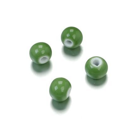 Perle en porcelaine ronde 10mm vert