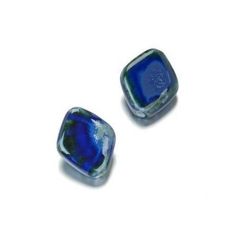 Perle en porcelaine Losange 25x20 bleu/vert