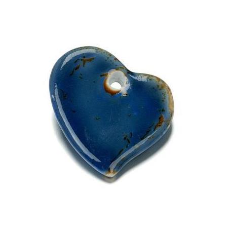 Perle en porcelaine Coeur 44x47mm bleu