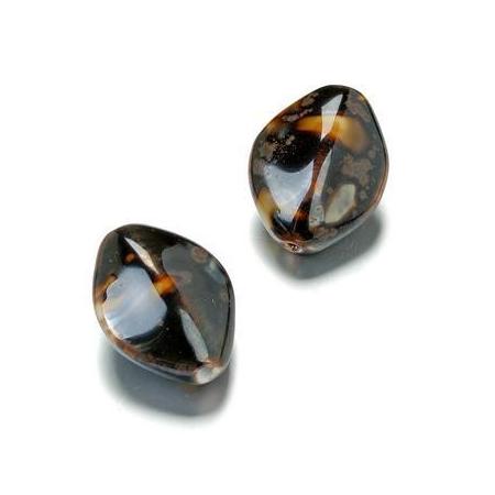 Perle en porcelaine Ovale 29x22mm brun