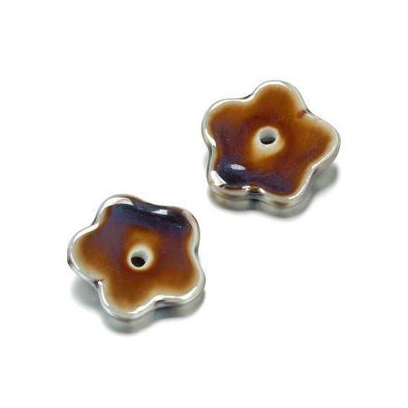 Perle en porcelaine Fleur avec tou 28mm brun