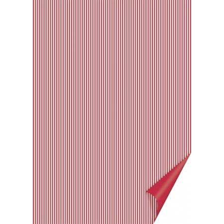 Carton à rayures 21x31 200g rouge