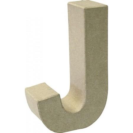 Lettre 3D papier mâché J 17,5x5,5cm
