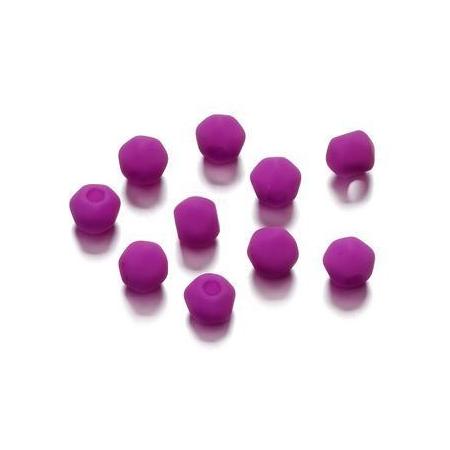 Perles angulaire mate fuchsia 5.5 mm