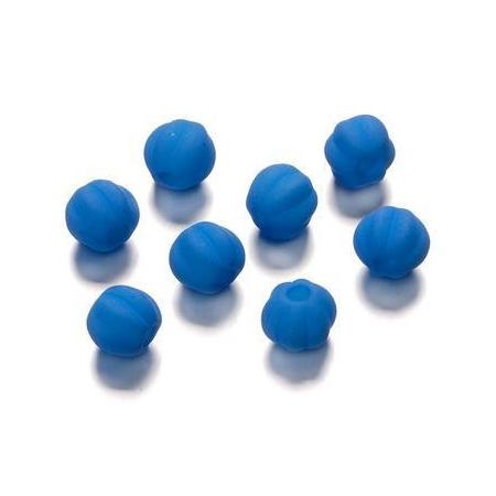 Perles rainurée mate bleu 8 mm