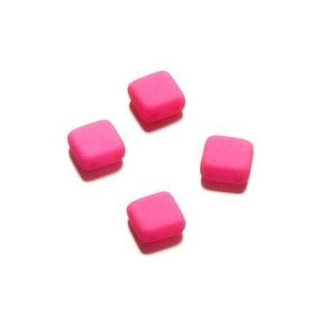 Perle néon Duo Beads Square 6x6 mm fuschia
