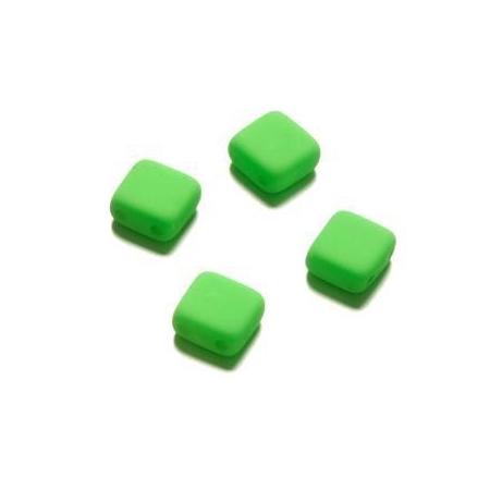 Perle néon Duo Beads Square 6x6 mm vert
